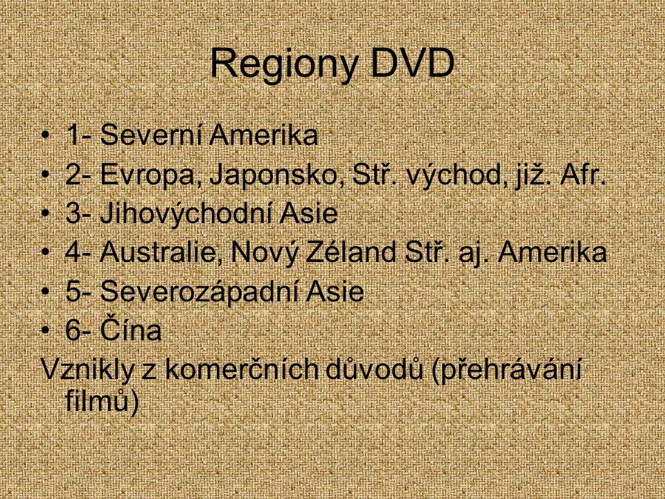 Regiony DVD 1- Severní Amerika 2- Evropa, Japonsko, Stř. východ, již. Afr. 3- Jihovýchodní Asie 4- Australie, Nový Zéland Stř. aj. Amerika 5- Severozá