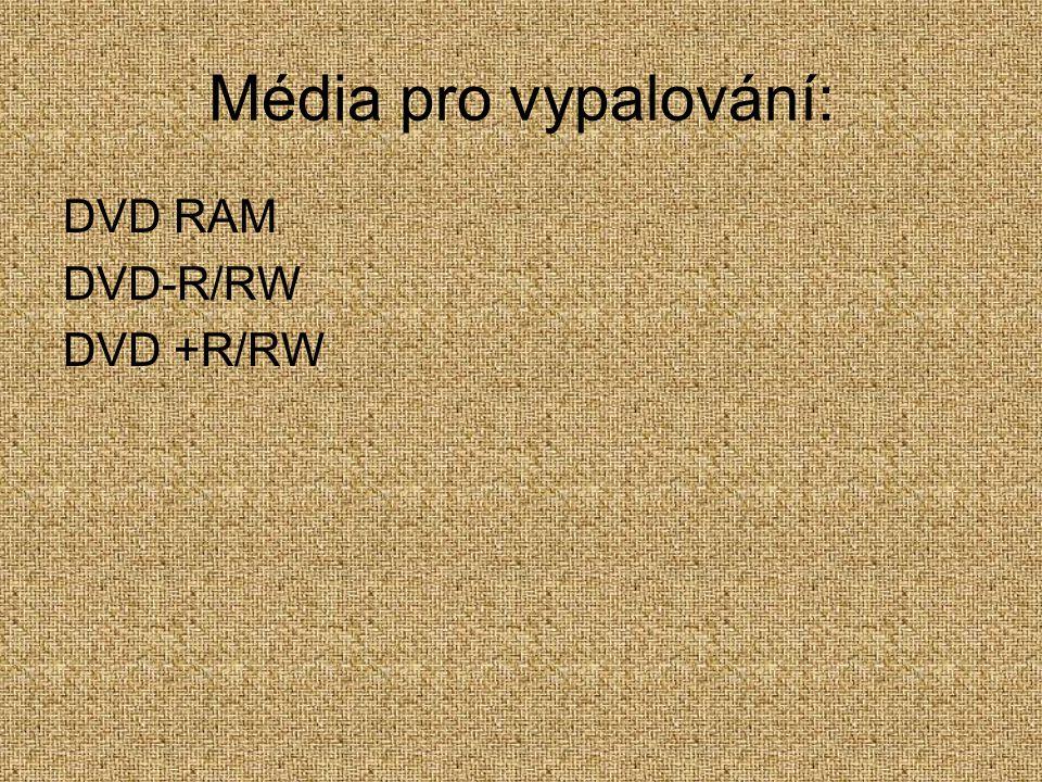 Média pro vypalování: DVD RAM DVD-R/RW DVD +R/RW