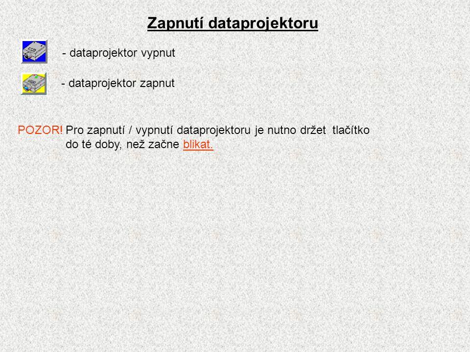 Zapnutí dataprojektoru - dataprojektor vypnut - dataprojektor zapnut POZOR!Pro zapnutí / vypnutí dataprojektoru je nutno držet tlačítko do té doby, než začne blikat.