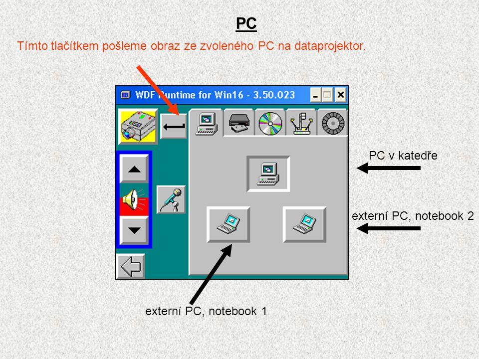 PC externí PC, notebook 2 externí PC, notebook 1 PC v katedře Tímto tlačítkem pošleme obraz ze zvoleného PC na dataprojektor.