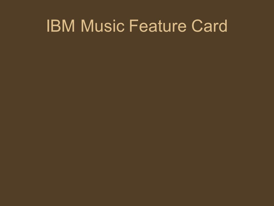 IBM Music Feature Card