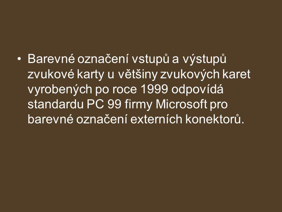 Barevné označení vstupů a výstupů zvukové karty u většiny zvukových karet vyrobených po roce 1999 odpovídá standardu PC 99 firmy Microsoft pro barevné označení externích konektorů.