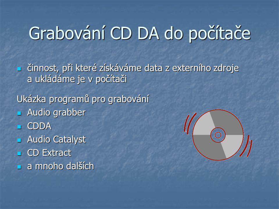 Grabování CD DA do počítače činnost, při které získáváme data z externího zdroje a ukládáme je v počítači činnost, při které získáváme data z externíh