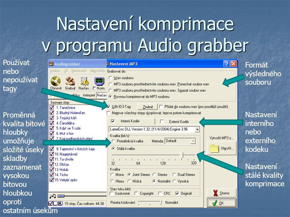 Nastavení komprimace v programu Audio grabber Formát výsledného souboru Používat nebo nepoužívat tagy Nastavení interního nebo externího kodeku Nastav