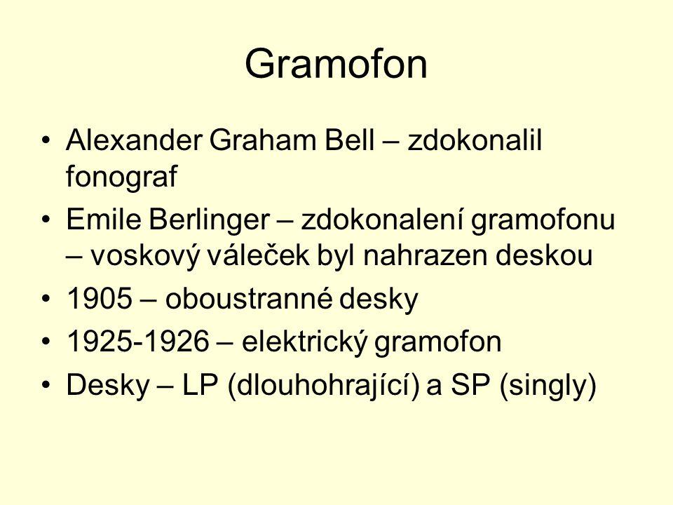 Gramofon Alexander Graham Bell – zdokonalil fonograf Emile Berlinger – zdokonalení gramofonu – voskový váleček byl nahrazen deskou 1905 – oboustranné desky 1925-1926 – elektrický gramofon Desky – LP (dlouhohrající) a SP (singly)