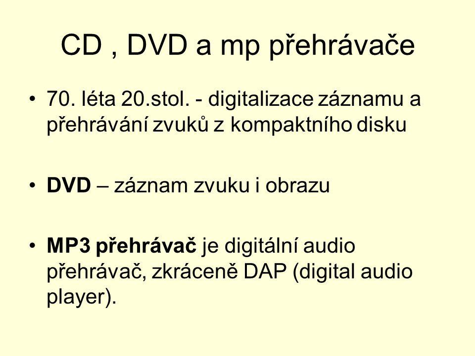CD, DVD a mp přehrávače 70.léta 20.stol.