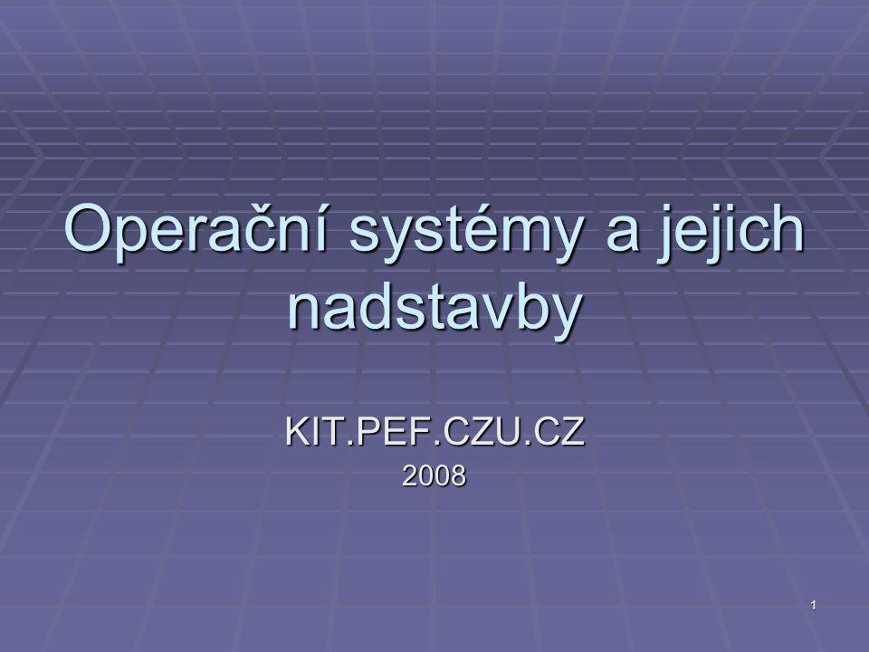 1 Operační systémy a jejich nadstavby KIT.PEF.CZU.CZ2008
