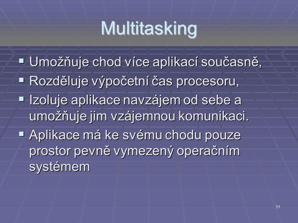 Multitasking  Umožňuje chod více aplikací současně,  Rozděluje výpočetní čas procesoru,  Izoluje aplikace navzájem od sebe a umožňuje jim vzájemnou