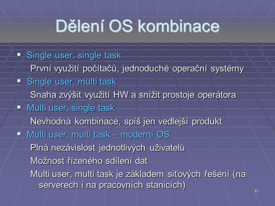 Dělení OS kombinace  Single user, single task První využití počítačů, jednoduché operační systémy  Single user, multi task Snaha zvýšit využití HW a