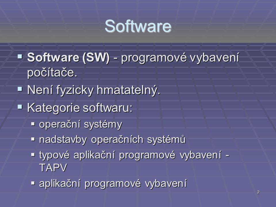 2 Software  Software (SW) - programové vybavení počítače.  Není fyzicky hmatatelný.  Kategorie softwaru:  operační systémy  nadstavby operačních