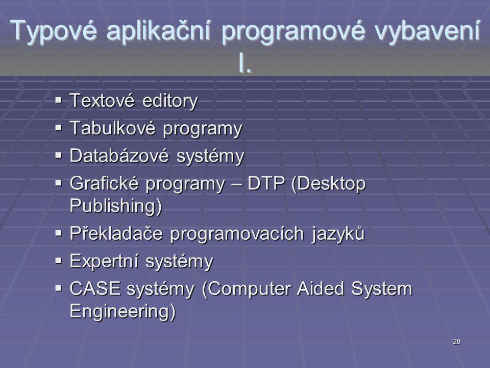 20 Typové aplikační programové vybavení I.  Textové editory  Tabulkové programy  Databázové systémy  Grafické programy – DTP (Desktop Publishing)