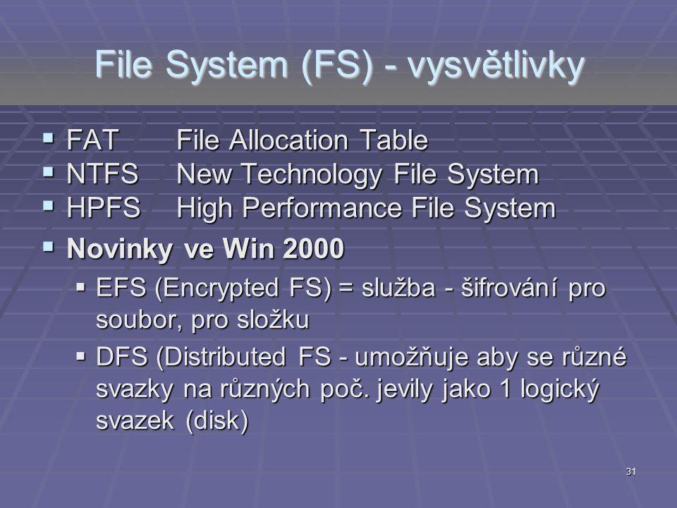31 File System (FS) - vysvětlivky  FATFile Allocation Table  NTFSNew Technology File System  HPFSHigh Performance File System  Novinky ve Win 2000
