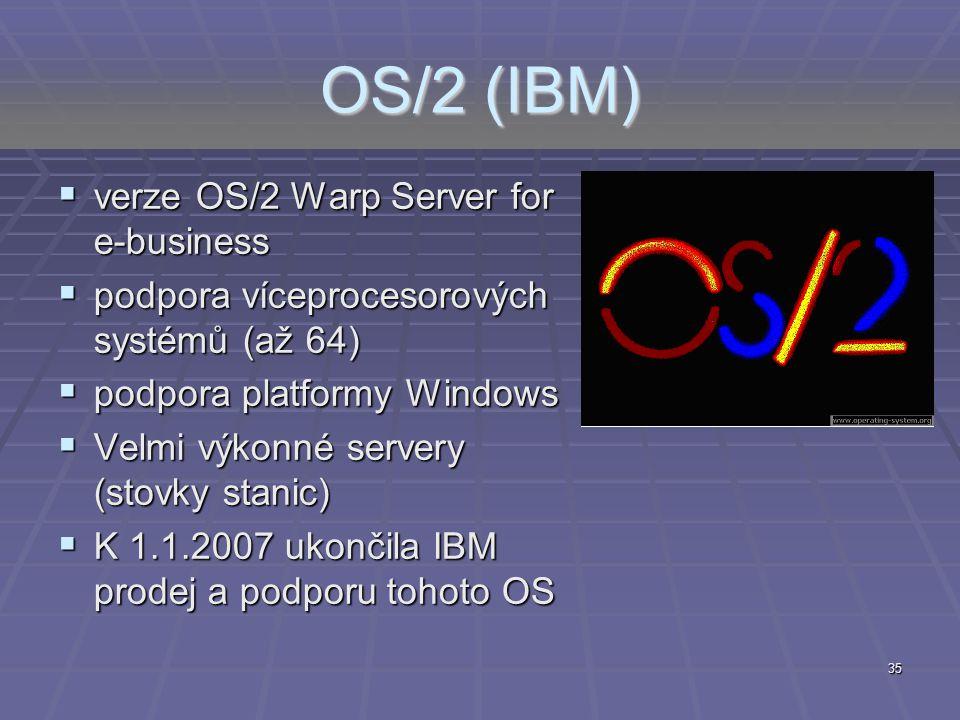 35 OS/2 (IBM)  verze OS/2 Warp Server for e-business  podpora víceprocesorových systémů (až 64)  podpora platformy Windows  Velmi výkonné servery