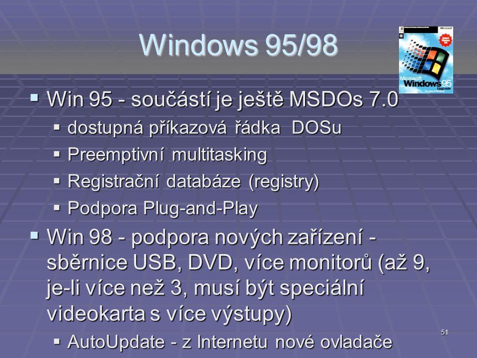 Windows 95/98  Win 95 - součástí je ještě MSDOs 7.0  dostupná příkazová řádka DOSu  Preemptivní multitasking  Registrační databáze (registry)  Po