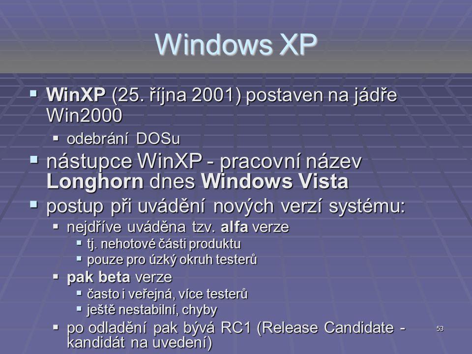 53 Windows XP  WinXP (25. října 2001) postaven na jádře Win2000  odebrání DOSu  nástupce WinXP - pracovní název Longhorn dnes Windows Vista  postu