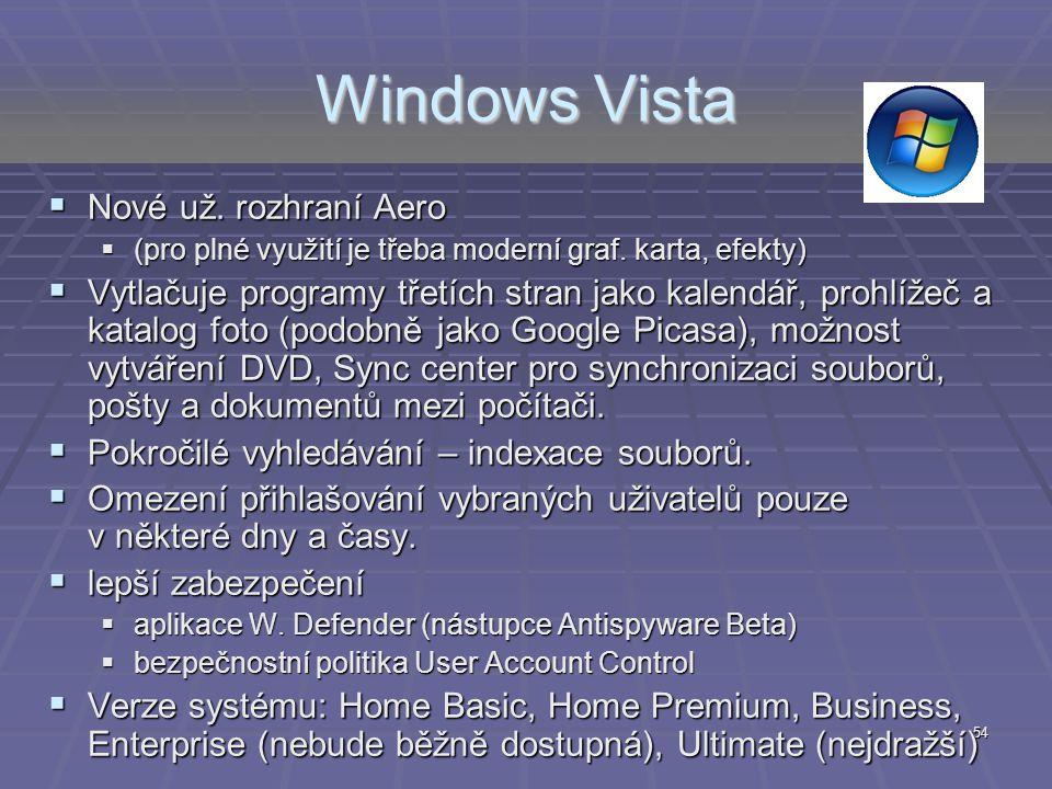 54 Windows Vista  Nové už. rozhraní Aero  (pro plné využití je třeba moderní graf. karta, efekty)  Vytlačuje programy třetích stran jako kalendář,