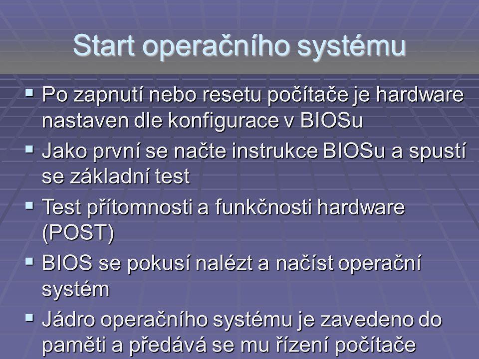 Start operačního systému  Po zapnutí nebo resetu počítače je hardware nastaven dle konfigurace v BIOSu  Jako první se načte instrukce BIOSu a spustí