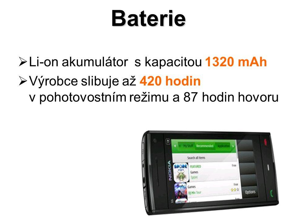 Baterie  Li-on akumulátor s kapacitou 1320 mAh  Výrobce slibuje až 420 hodin v pohotovostním režimu a 87 hodin hovoru