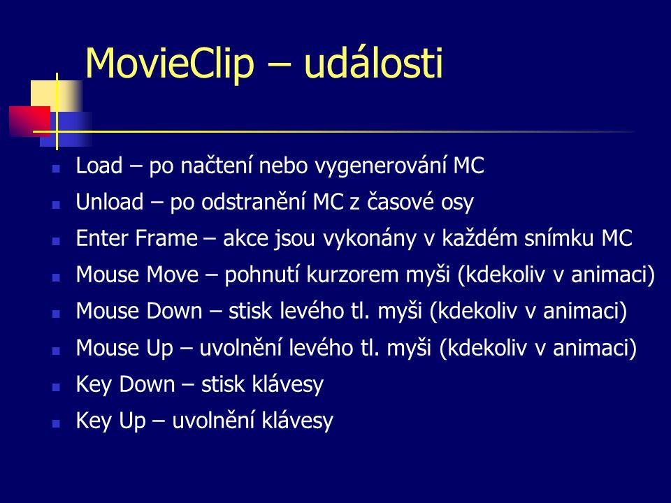 MovieClip – události Load – po načtení nebo vygenerování MC Unload – po odstranění MC z časové osy Enter Frame – akce jsou vykonány v každém snímku MC Mouse Move – pohnutí kurzorem myši (kdekoliv v animaci) Mouse Down – stisk levého tl.