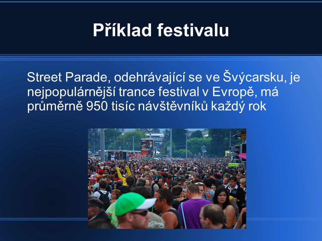 Příklad festivalu Street Parade, odehrávající se ve Švýcarsku, je nejpopulárnější trance festival v Evropě, má průměrně 950 tisíc návštěvníků každý ro