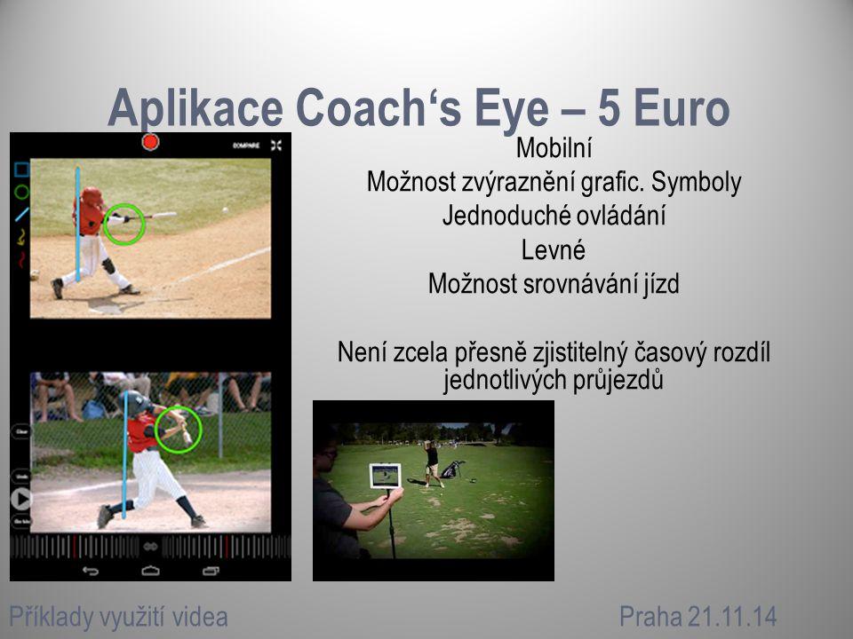 Aplikace Coach's Eye – 5 Euro Mobilní Možnost zvýraznění grafic. Symboly Jednoduché ovládání Levné Možnost srovnávání jízd Není zcela přesně zjistitel