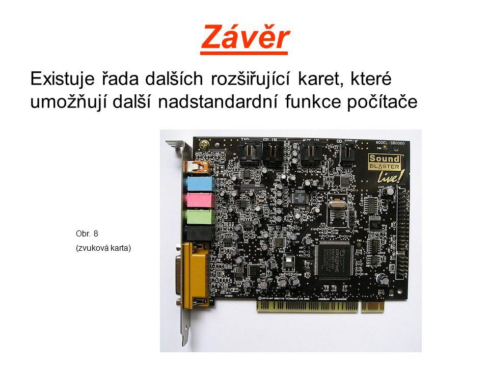 Závěr Existuje řada dalších rozšiřující karet, které umožňují další nadstandardní funkce počítače Obr.