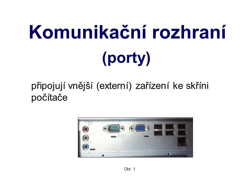 Komunikační rozhraní (porty) připojují vnější (externí) zařízení ke skříni počítače Obr. 1
