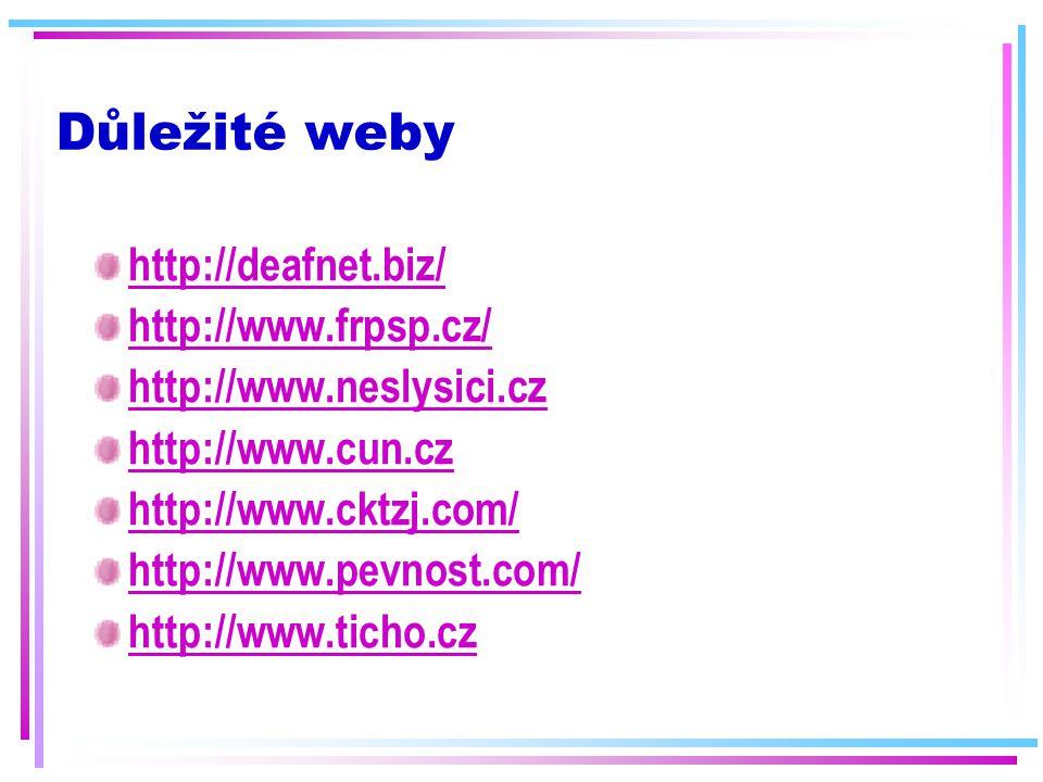 Důležité weby http://deafnet.biz/ http://www.frpsp.cz/ http://www.neslysici.cz http://www.cun.cz http://www.cktzj.com/ http://www.pevnost.com/ http://