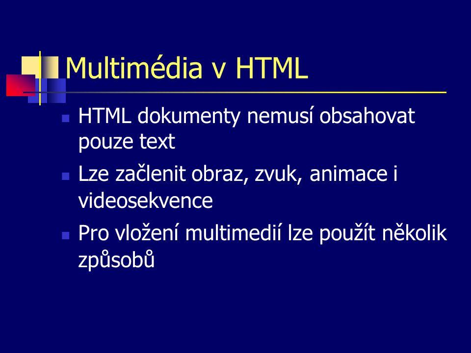 Multimédia v HTML HTML dokumenty nemusí obsahovat pouze text Lze začlenit obraz, zvuk, animace i videosekvence Pro vložení multimedií lze použít několik způsobů