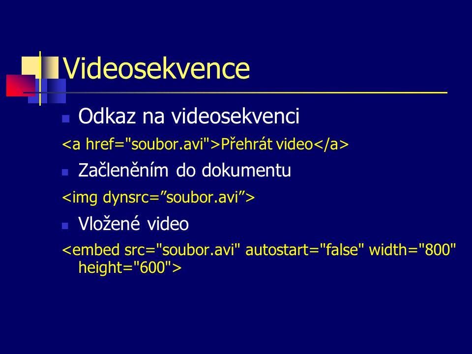 Videosekvence Odkaz na videosekvenci Přehrát video Začleněním do dokumentu Vložené video