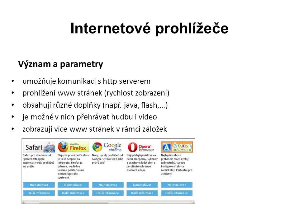 Internetové prohlížeče Význam a parametry umožňuje komunikaci s http serverem prohlížení www stránek (rychlost zobrazení) obsahují různé doplňky (např.