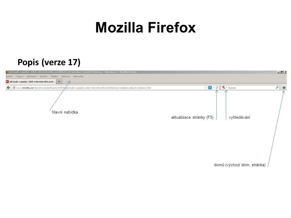 Mozilla Firefox Popis (verze 17) aktualizace stránky (F5) domů (výchozí dom.