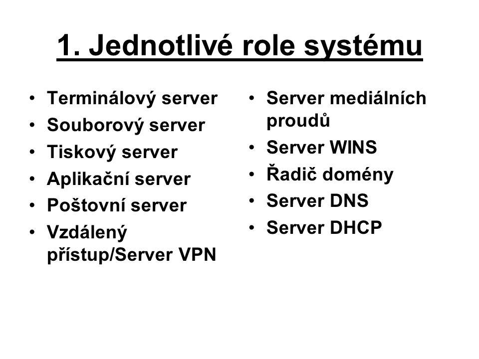 1. Jednotlivé role systému Terminálový server Souborový server Tiskový server Aplikační server Poštovní server Vzdálený přístup/Server VPN Server medi