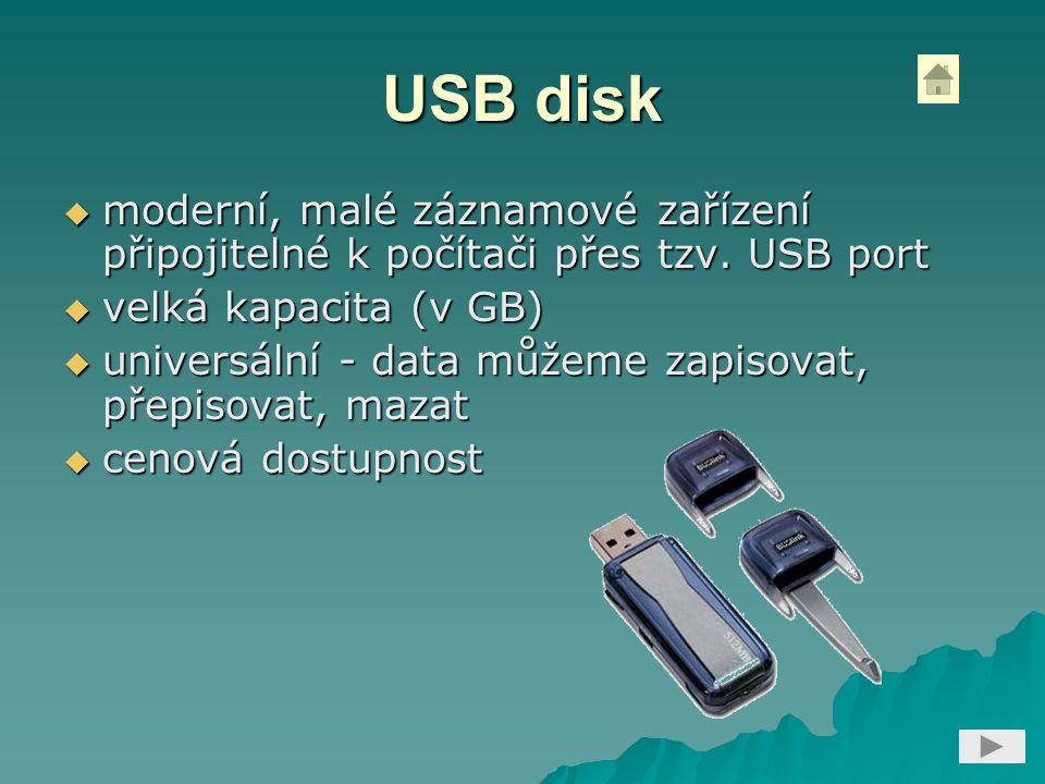USB disk  moderní, malé záznamové zařízení připojitelné k počítači přes tzv. USB port  velká kapacita (v GB)  universální - data můžeme zapisovat,
