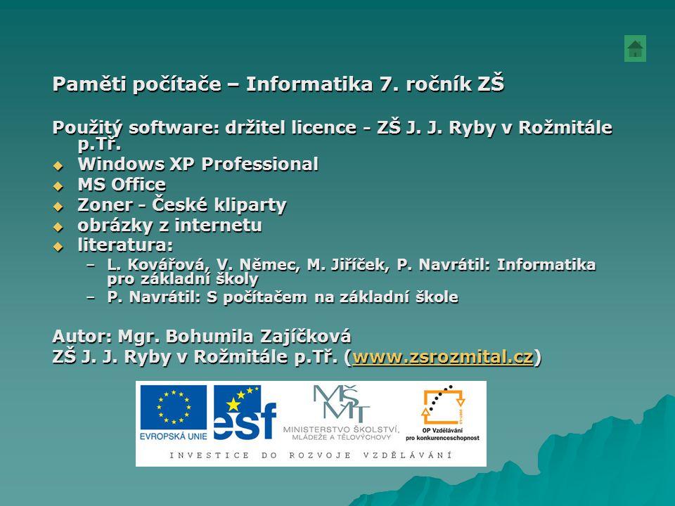 Paměti počítače – Informatika 7. ročník ZŠ Použitý software: držitel licence - ZŠ J. J. Ryby v Rožmitále p.Tř.  Windows XP Professional  MS Office 