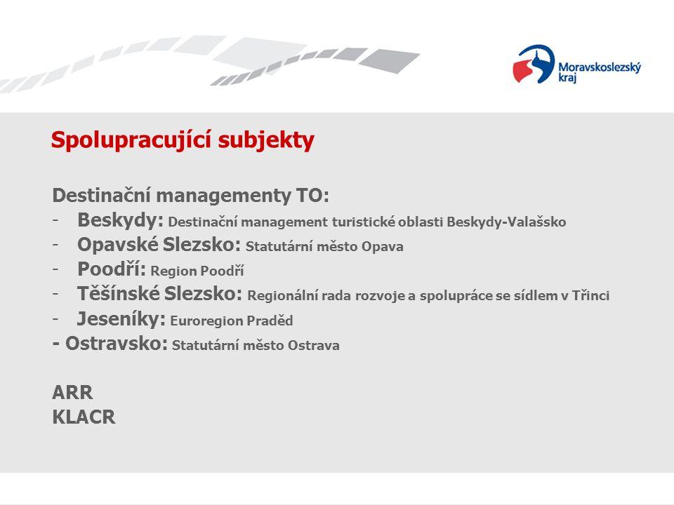 Spolupracující subjekty Destinační managementy TO: -Beskydy: Destinační management turistické oblasti Beskydy-Valašsko -Opavské Slezsko: Statutární mě
