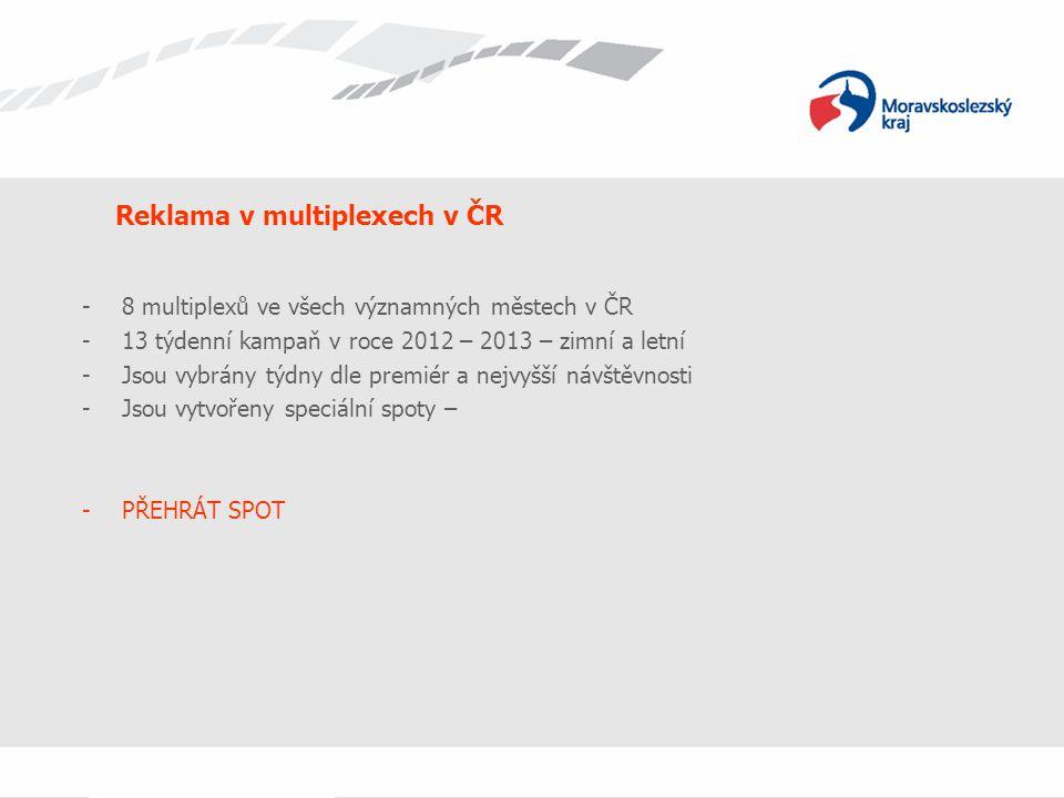 -8 multiplexů ve všech významných městech v ČR -13 týdenní kampaň v roce 2012 – 2013 – zimní a letní -Jsou vybrány týdny dle premiér a nejvyšší návště