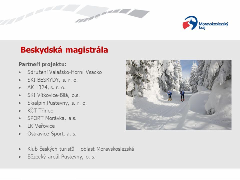 Beskydská magistrála Partneři projektu: Sdružení Valašsko-Horní Vsacko SKI BESKYDY, s. r. o. AK 1324, s. r. o. SKI Vítkovice-Bílá, o.s. Skialpin Puste