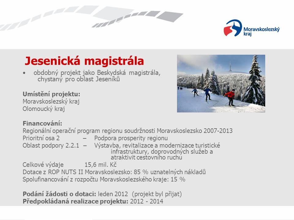 Jesenická magistrála obdobný projekt jako Beskydská magistrála, chystaný pro oblast Jeseníků Umístění projektu: Moravskoslezský kraj Olomoucký kraj Fi