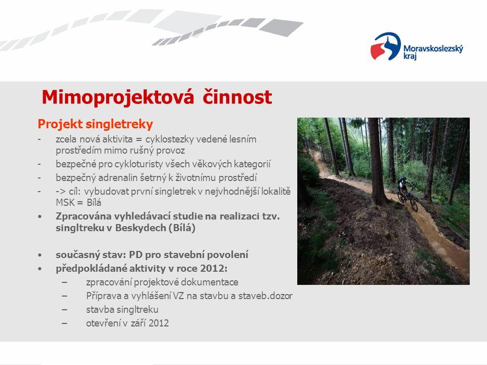 Mimoprojektová činnost Projekt singletreky -zcela nová aktivita = cyklostezky vedené lesním prostředím mimo rušný provoz -bezpečné pro cykloturisty vš