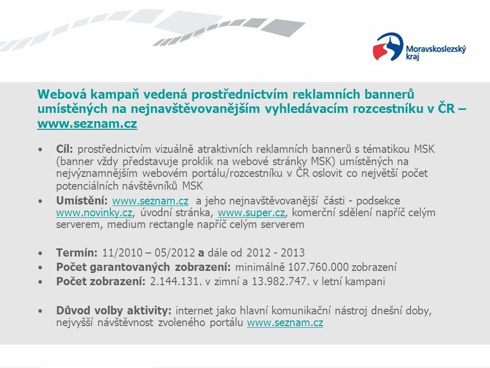 Webová kampaň vedená prostřednictvím reklamních bannerů umístěných na nejnavštěvovanějším vyhledávacím rozcestníku v ČR – www.seznam.cz www.seznam.cz Typy bannerů: 1) www.super.czwww.super.cz