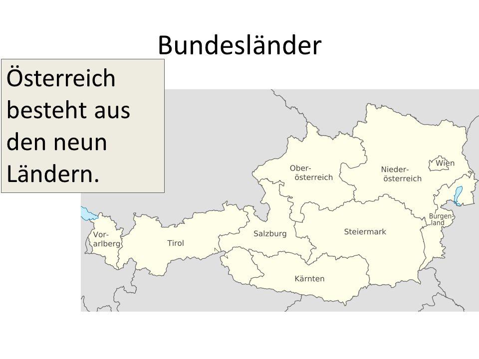 Bundesländer Österreich besteht aus den neun Ländern.