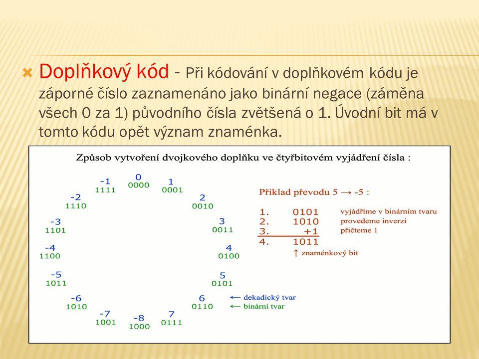  Doplňkový kód - Při kódování v doplňkovém kódu je záporné číslo zaznamenáno jako binární negace (záměna všech 0 za 1) původního čísla zvětšená o 1.