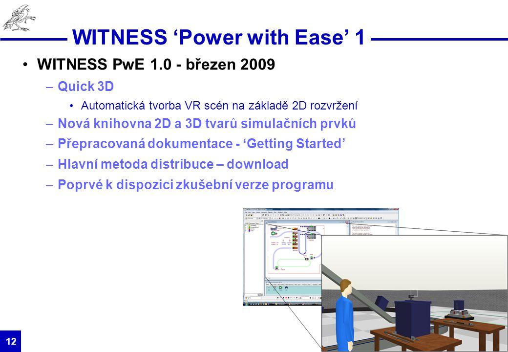 HUMUSOFT s.r.o. 12 WITNESS 'Power with Ease' 1 WITNESS PwE 1.0 - březen 2009 –Quick 3D Automatická tvorba VR scén na základě 2D rozvržení –Nová knihov