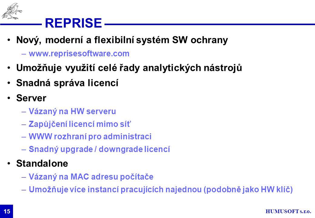 HUMUSOFT s.r.o. 15 REPRISE Nový, moderní a flexibilní systém SW ochrany –www.reprisesoftware.com Umožňuje využití celé řady analytických nástrojů Snad