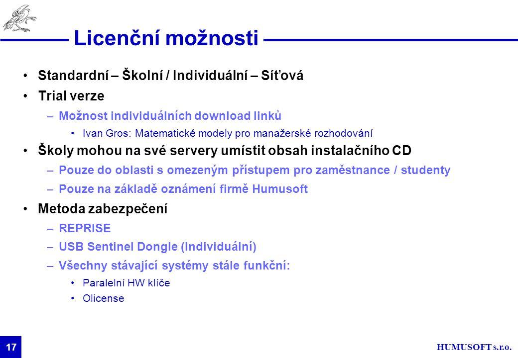 HUMUSOFT s.r.o. 17 Licenční možnosti Standardní – Školní / Individuální – Síťová Trial verze –Možnost individuálních download linků Ivan Gros: Matemat