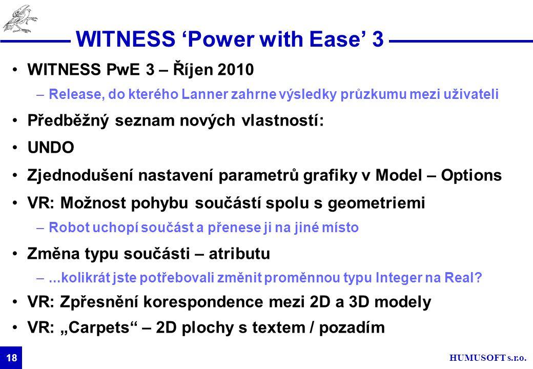 HUMUSOFT s.r.o. 18 WITNESS 'Power with Ease' 3 WITNESS PwE 3 – Říjen 2010 –Release, do kterého Lanner zahrne výsledky průzkumu mezi uživateli Předběžn
