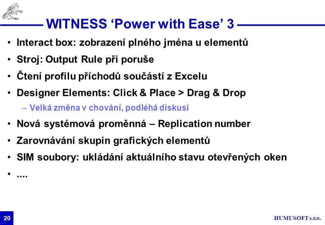 HUMUSOFT s.r.o. 20 WITNESS 'Power with Ease' 3 Interact box: zobrazení plného jména u elementů Stroj: Output Rule při poruše Čtení profilu příchodů so
