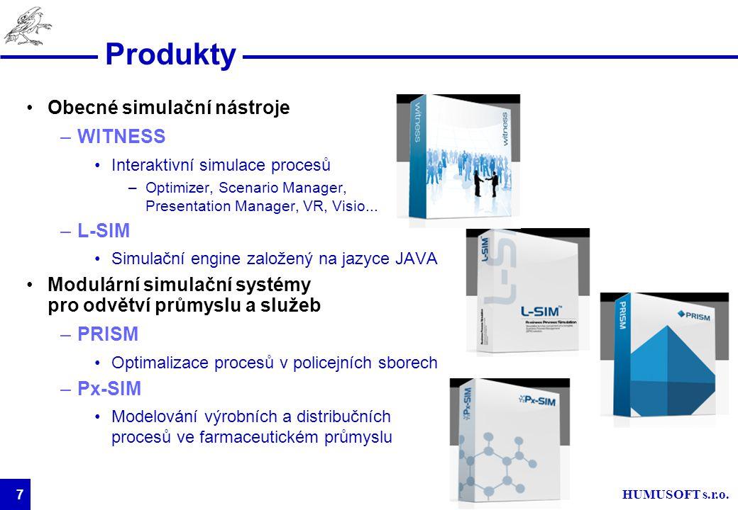 HUMUSOFT s.r.o. 7 Produkty Obecné simulační nástroje –WITNESS Interaktivní simulace procesů –Optimizer, Scenario Manager, Presentation Manager, VR, Vi