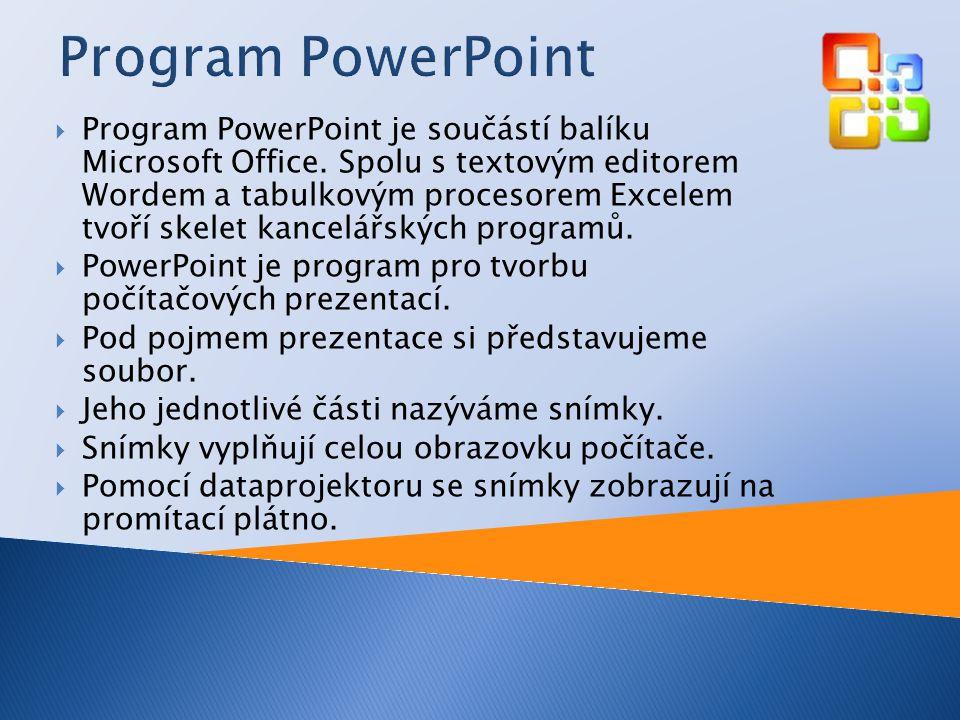  Program PowerPoint je součástí balíku Microsoft Office.
